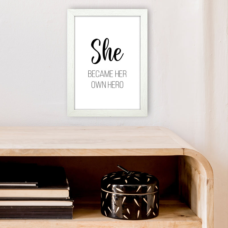 She Became Her Own Hero  Art Print by Pixy Paper A4 Oak Frame