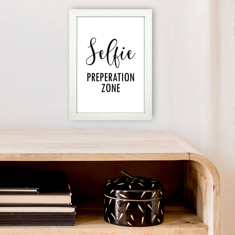Selfie Preperation Zone  Art Print by Pixy Paper A4 Oak Frame