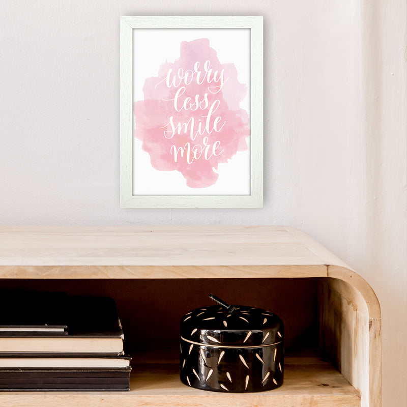 Worry Less Smile More  Art Print by Pixy Paper A4 Oak Frame