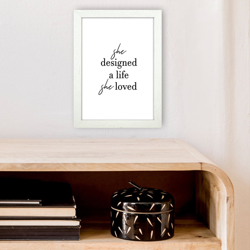 She Designed A Life  Art Print by Pixy Paper A4 Oak Frame