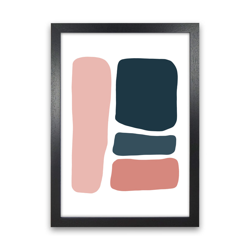 Pink And Navy Abstract Stones 3 Art Print by Pixy Paper Black Grain