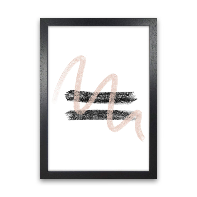 Dalia Chalk Pink And Black Line Contrast  Art Print by Pixy Paper Black Grain