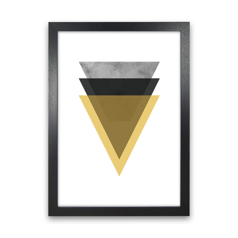 Geometric Mustard And Black Triangles  Art Print by Pixy Paper Black Grain