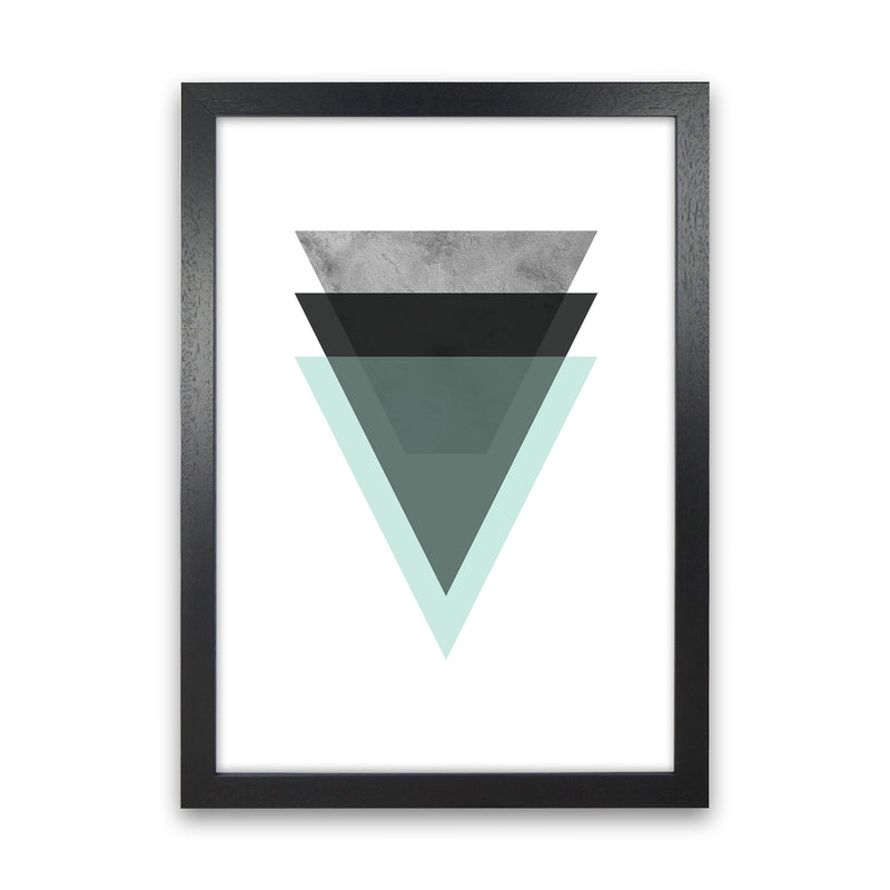 Geometric Mint And Black Triangles  Art Print by Pixy Paper Black Grain