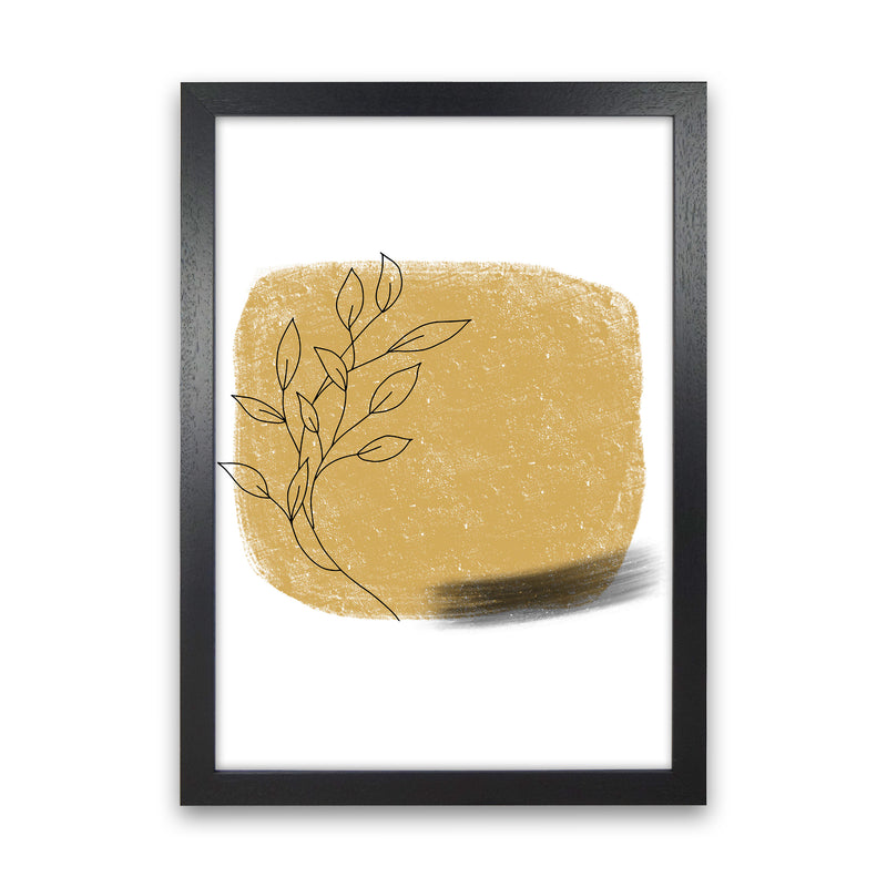 Dalia Chalk Gold Floral Square  Art Print by Pixy Paper Black Grain