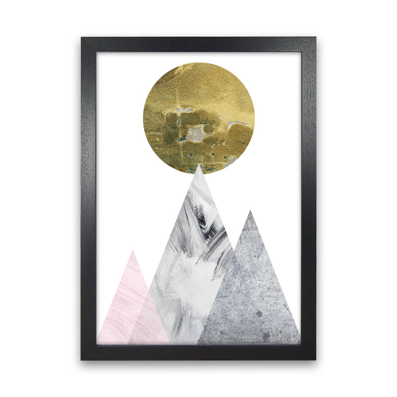 Luna Gold Moon And Mountains  Art Print by Pixy Paper Black Grain