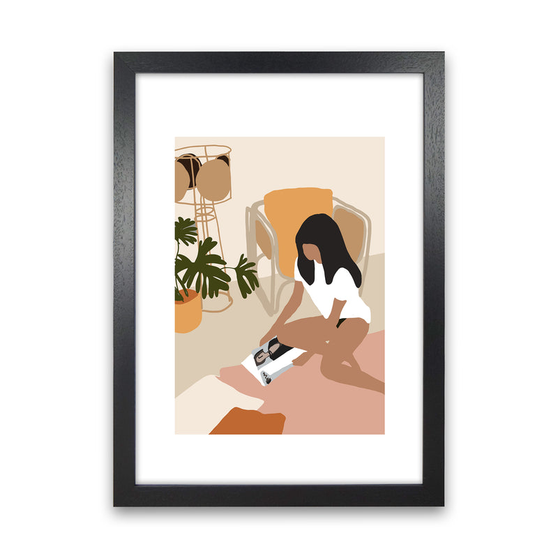 Mica Girl With Magazine N4  Art Print by Pixy Paper Black Grain