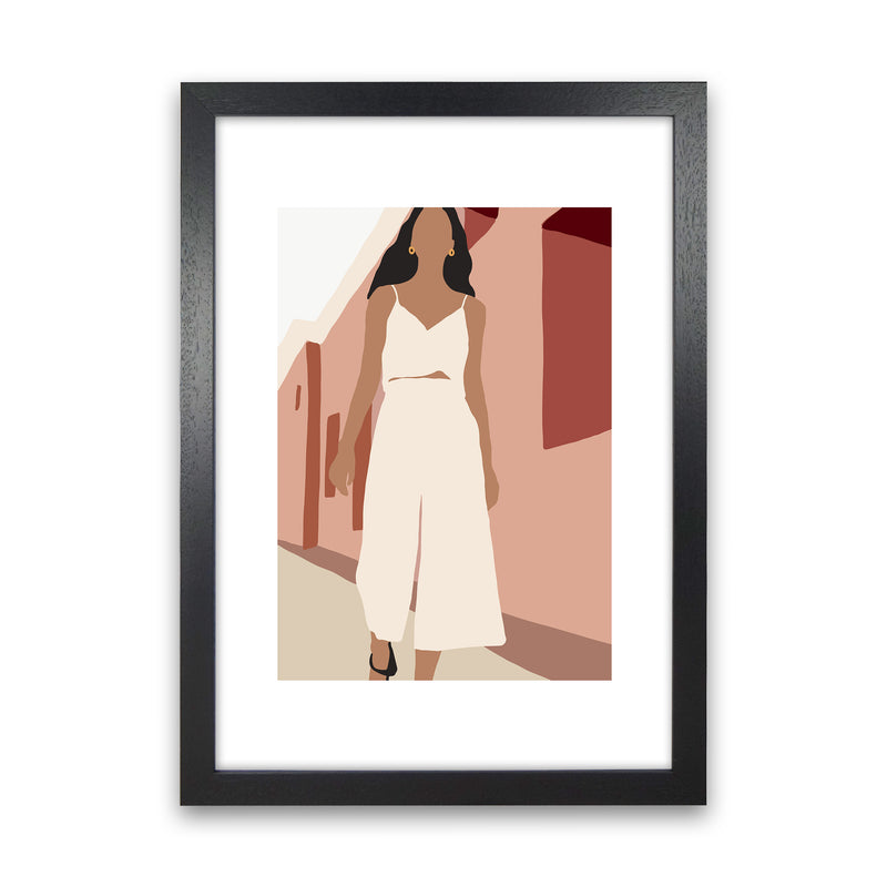 Mica Girl In Street N7  Art Print by Pixy Paper Black Grain