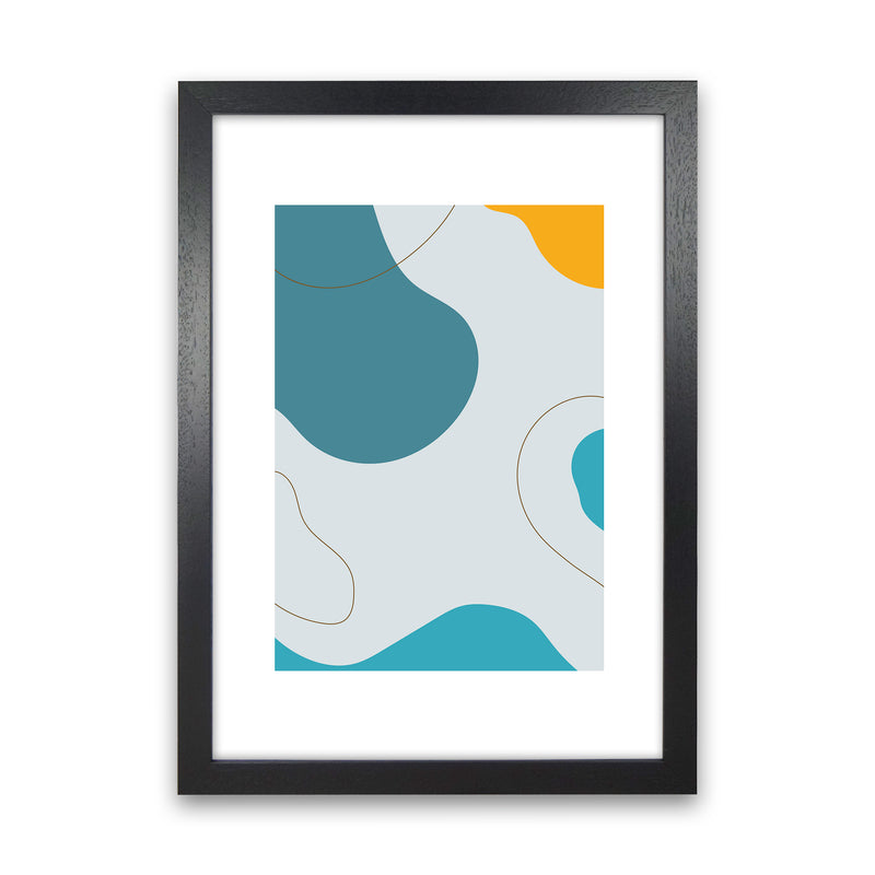 Mita Teal Abstract N16  Art Print by Pixy Paper Black Grain