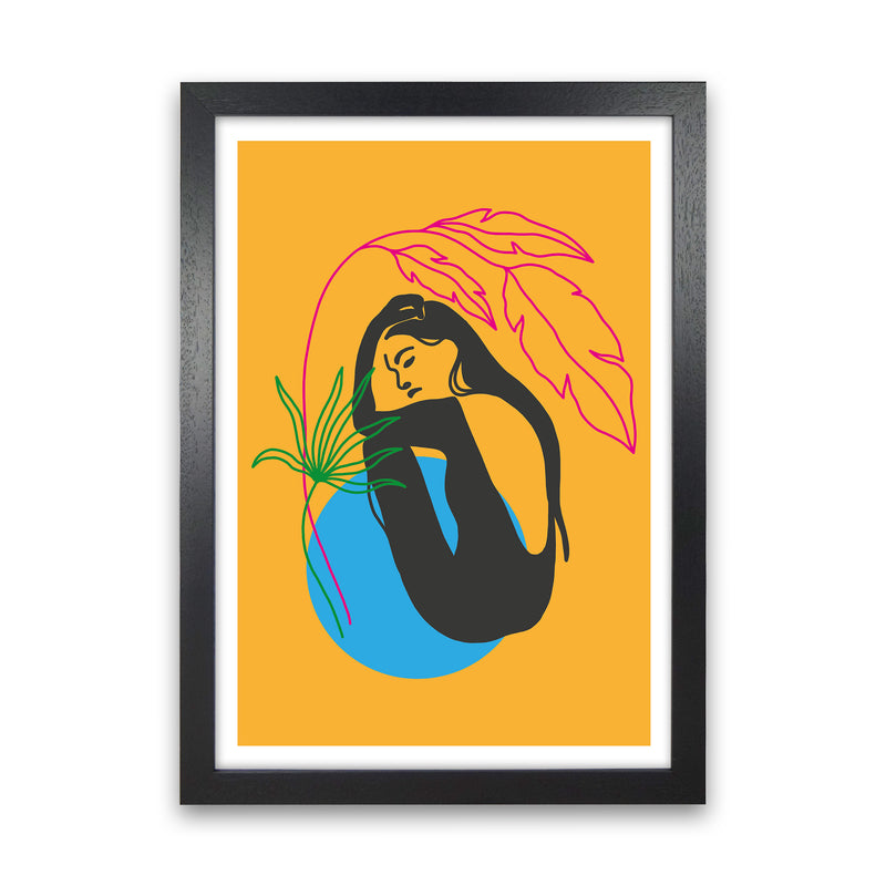 Girl Under Plant Yellow Neon Funk  Art Print by Pixy Paper Black Grain