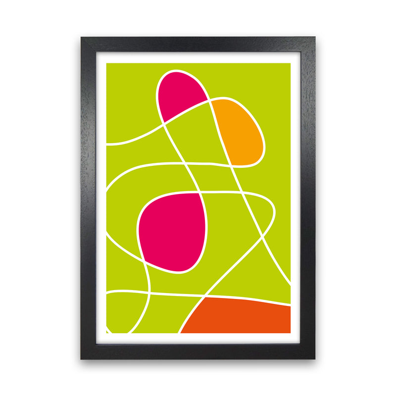Lime Mess Neon Funk  Art Print by Pixy Paper Black Grain