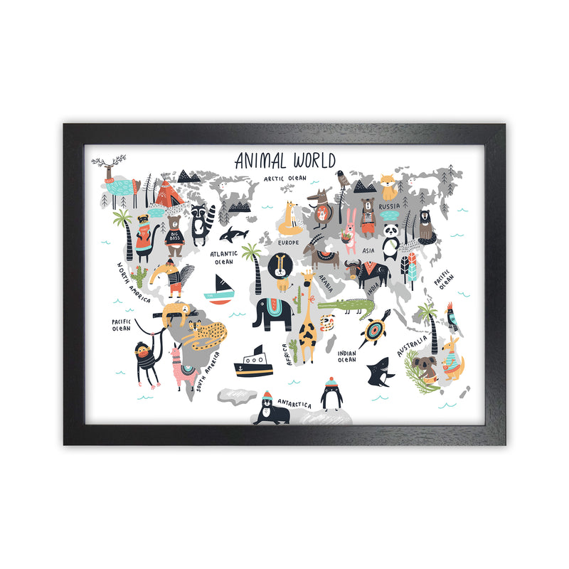 Animal World Map  Art Print by Pixy Paper Black Grain
