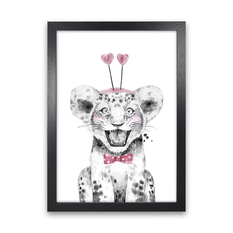 Safari Babies Tiger With Heart Hat  Art Print by Pixy Paper Black Grain