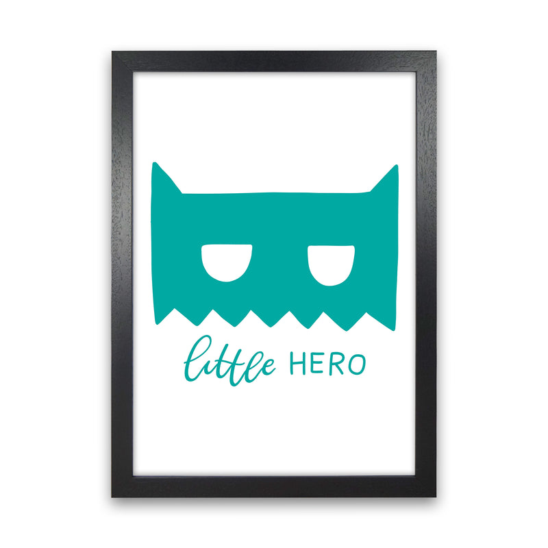 Little Hero Mask Teal Super Scandi  Art Print by Pixy Paper Black Grain
