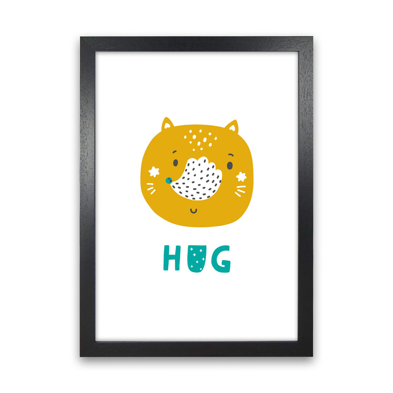 Fox Hug Teal Super Scandi  Art Print by Pixy Paper Black Grain