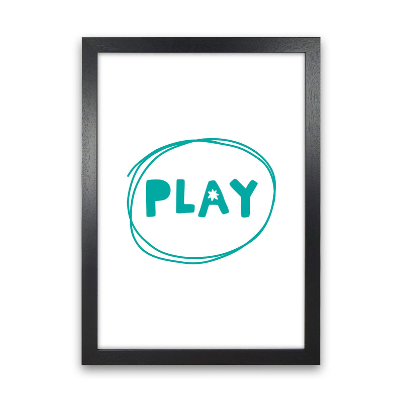 Play Teal Super Scandi  Art Print by Pixy Paper Black Grain