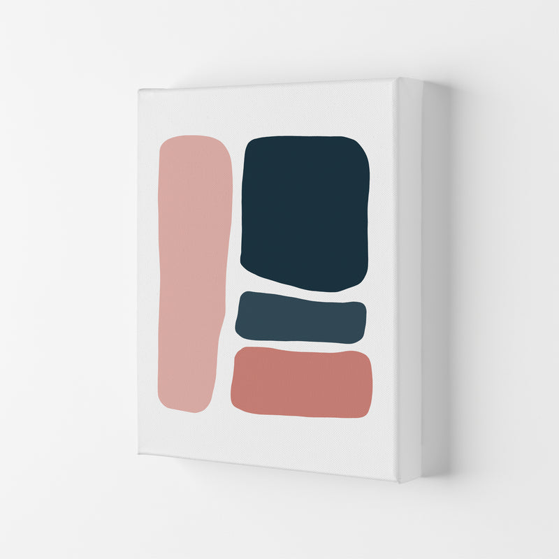 Pink And Navy Abstract Stones 3 Art Print by Pixy Paper Canvas