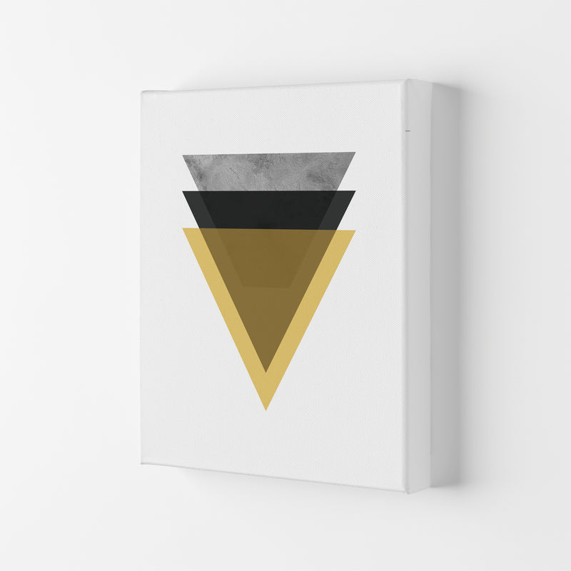 Geometric Mustard And Black Triangles  Art Print by Pixy Paper Canvas