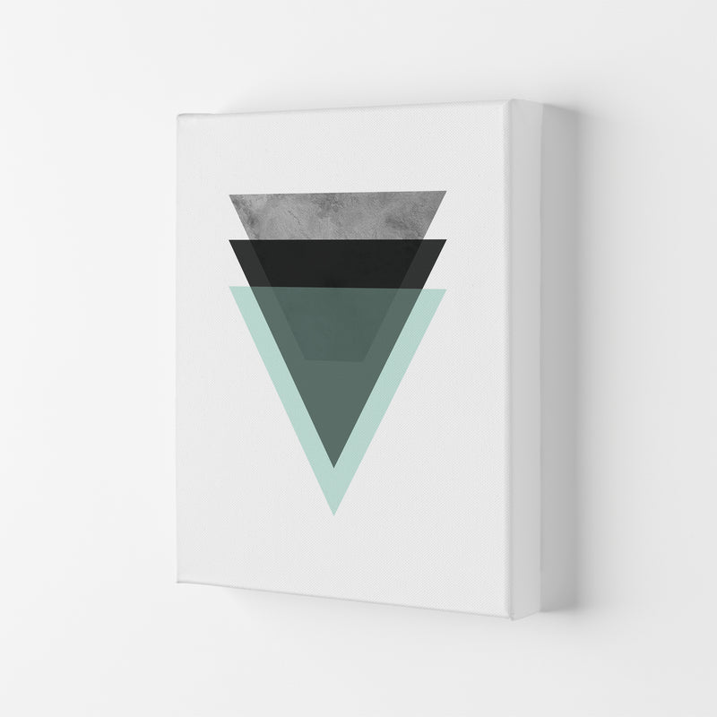 Geometric Mint And Black Triangles  Art Print by Pixy Paper Canvas