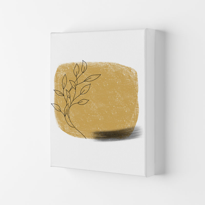 Dalia Chalk Gold Floral Square  Art Print by Pixy Paper Canvas