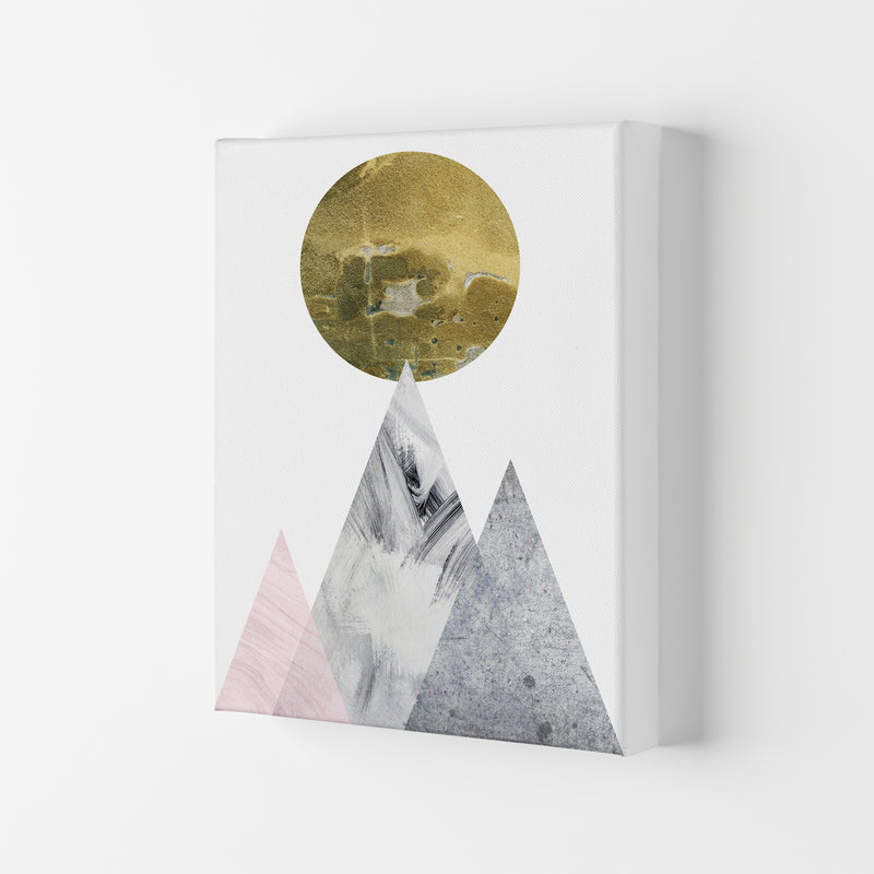 Luna Gold Moon And Mountains  Art Print by Pixy Paper Canvas