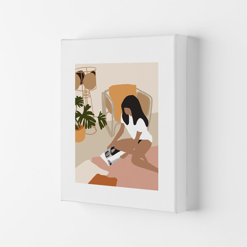 Mica Girl With Magazine N4  Art Print by Pixy Paper Canvas
