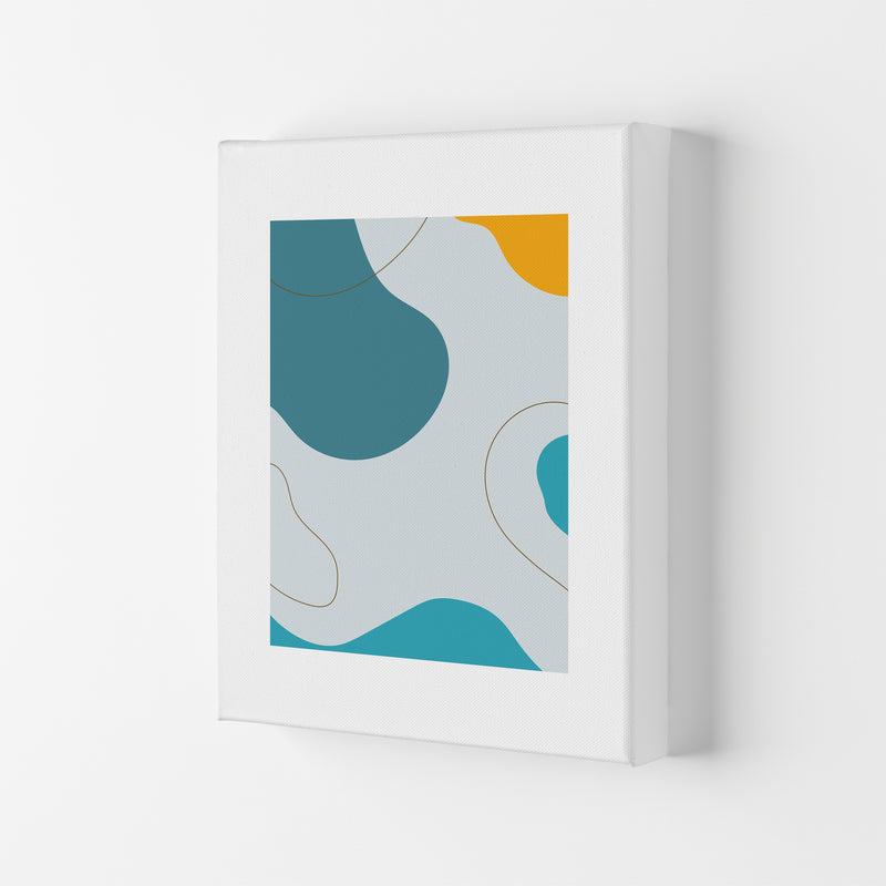 Mita Teal Abstract N16  Art Print by Pixy Paper Canvas
