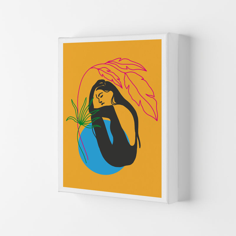 Girl Under Plant Yellow Neon Funk  Art Print by Pixy Paper Canvas