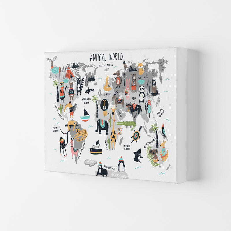 Animal World Map  Art Print by Pixy Paper Canvas