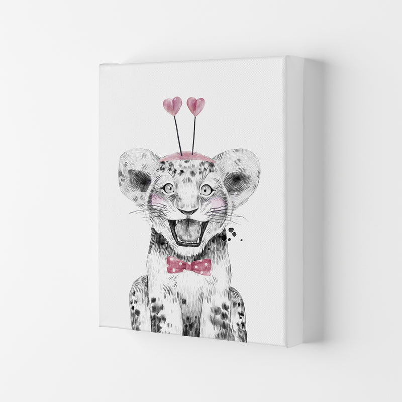 Safari Babies Tiger With Heart Hat  Art Print by Pixy Paper Canvas