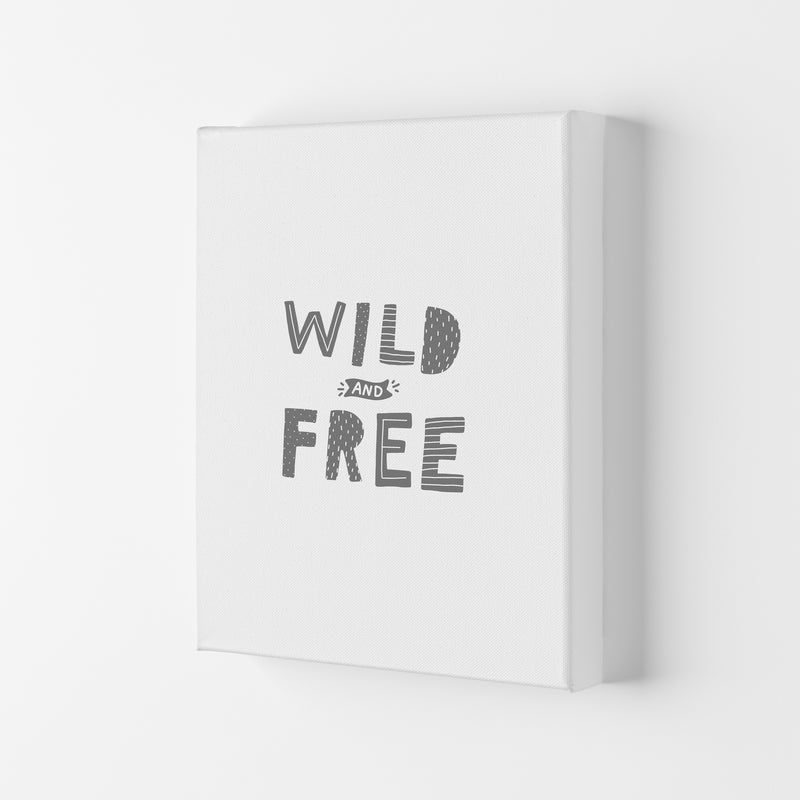 Wild And Free Grey Super Scandi  Art Print by Pixy Paper Canvas