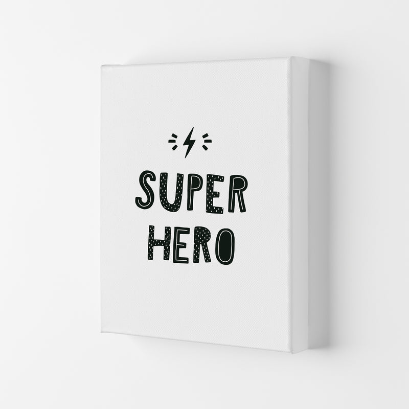 Super Hero Black Super Scandi  Art Print by Pixy Paper Canvas