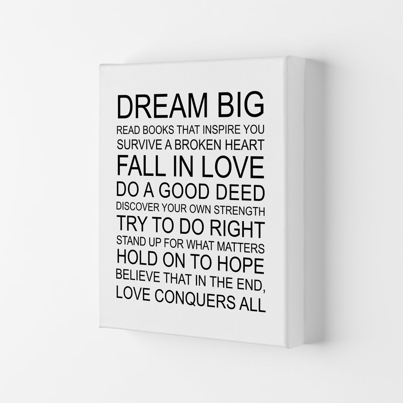 Dream Big Inspirational  Art Print by Pixy Paper Canvas