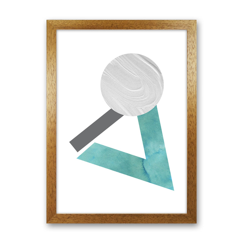 Marble Teal And Silver 3 Art Print by Pixy Paper Oak Grain