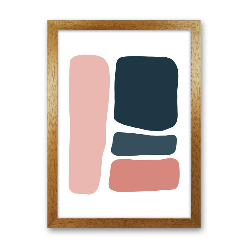 Pink And Navy Abstract Stones 3 Art Print by Pixy Paper Oak Grain