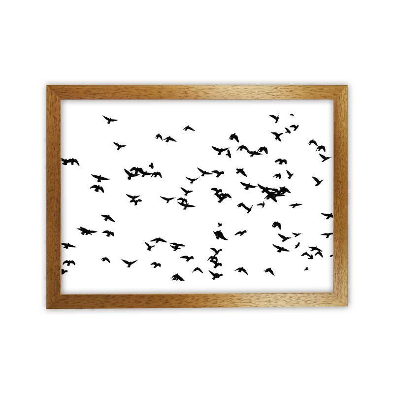 Flock Of Birds Landscape Art Print by Pixy Paper Oak Grain