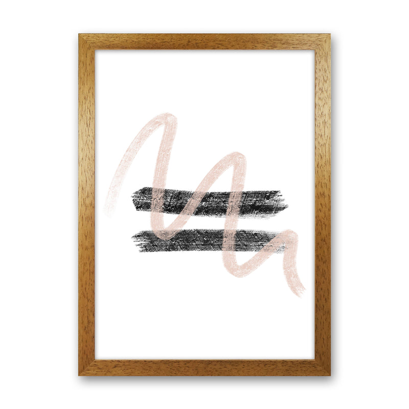 Dalia Chalk Pink And Black Line Contrast  Art Print by Pixy Paper Oak Grain