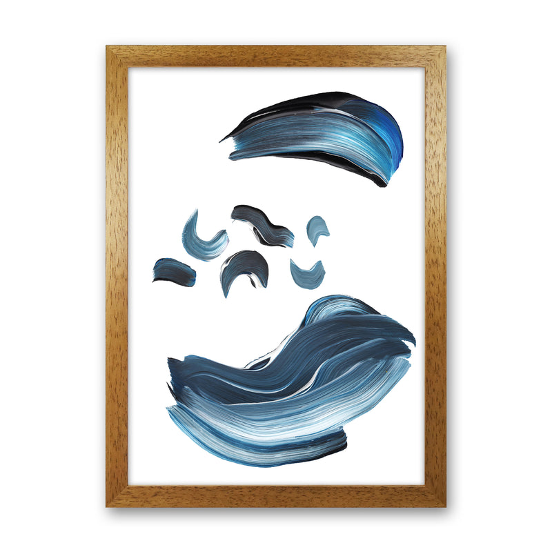 Dark Blue And Grey Paint Strokes  Art Print by Pixy Paper Oak Grain
