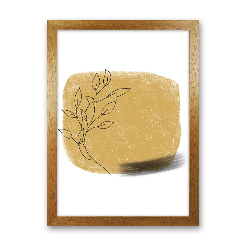 Dalia Chalk Gold Floral Square  Art Print by Pixy Paper Oak Grain