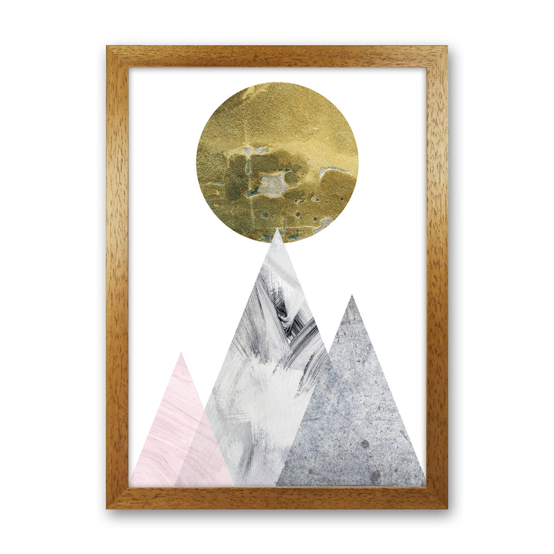 Luna Gold Moon And Mountains  Art Print by Pixy Paper Oak Grain