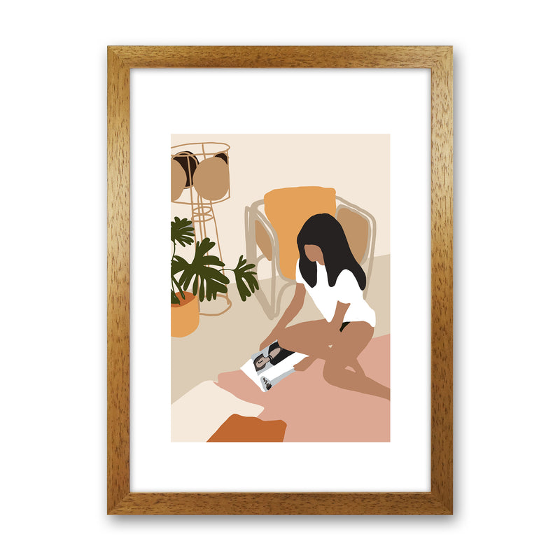Mica Girl With Magazine N4  Art Print by Pixy Paper Oak Grain