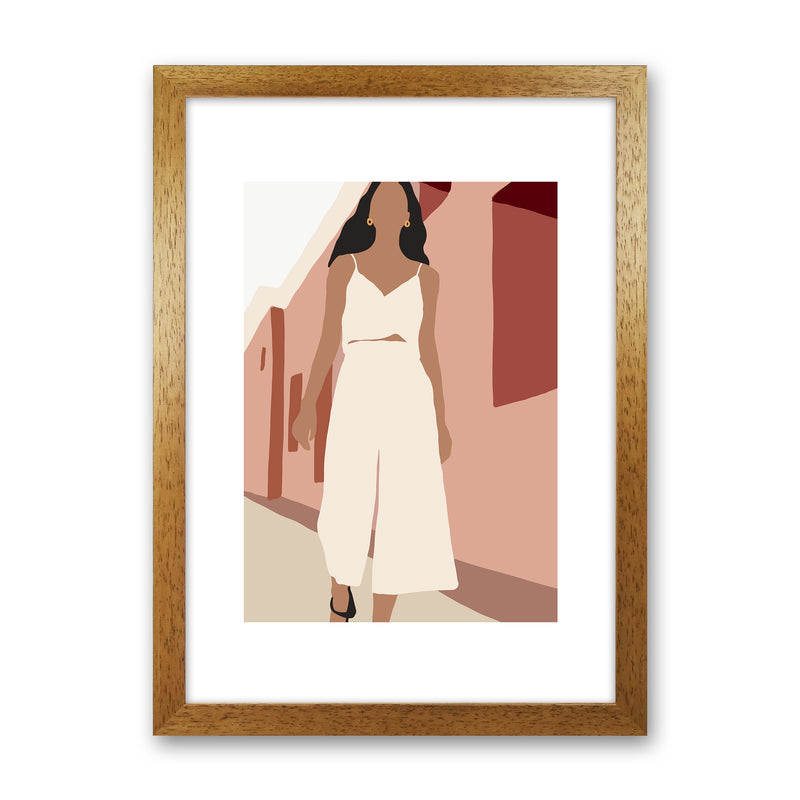 Mica Girl In Street N7  Art Print by Pixy Paper Oak Grain
