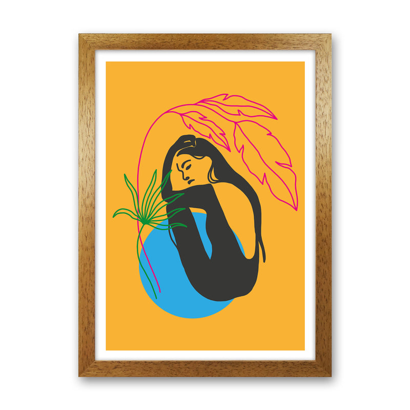 Girl Under Plant Yellow Neon Funk  Art Print by Pixy Paper Oak Grain