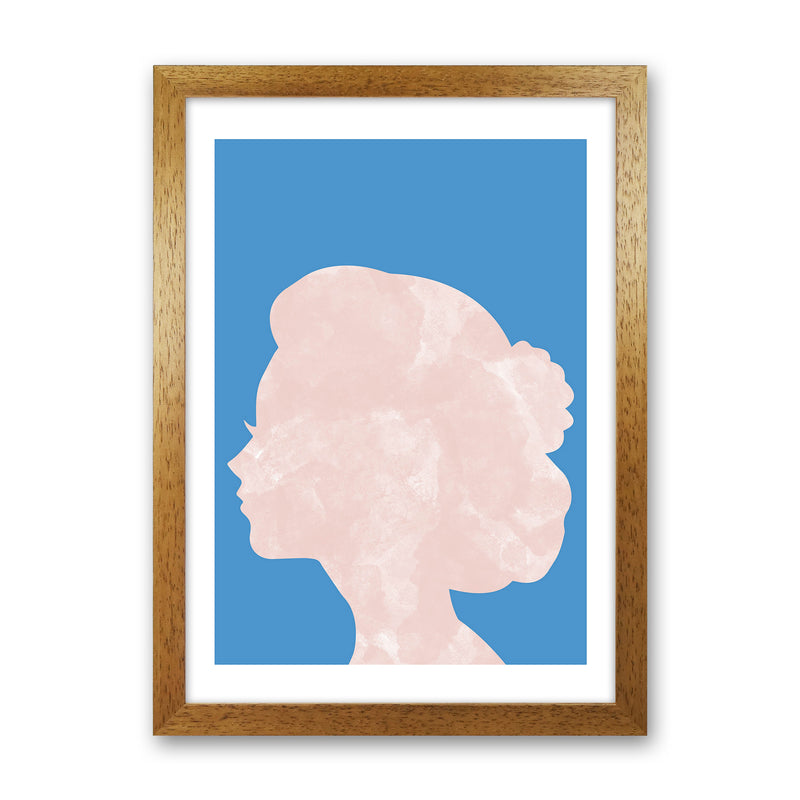 Marble Head Blue  Art Print by Pixy Paper Oak Grain