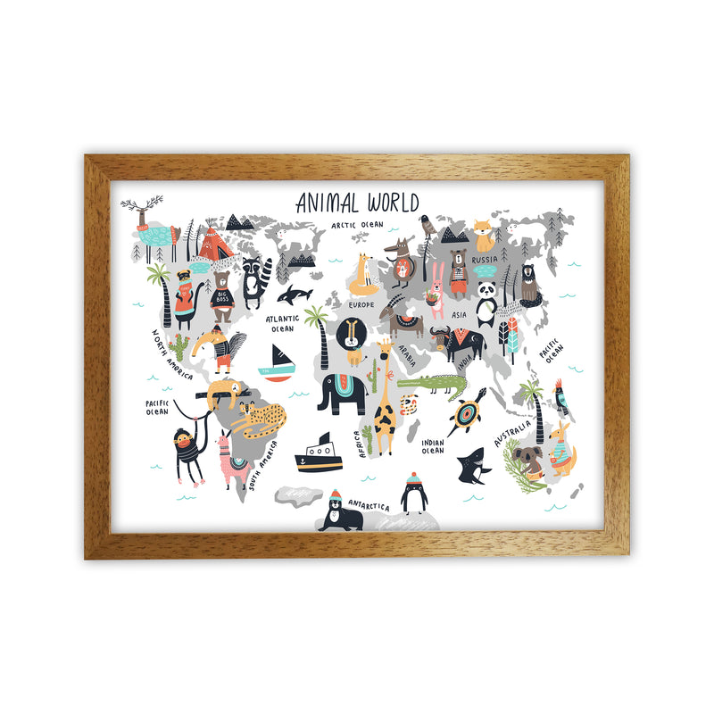 Animal World Map  Art Print by Pixy Paper Oak Grain