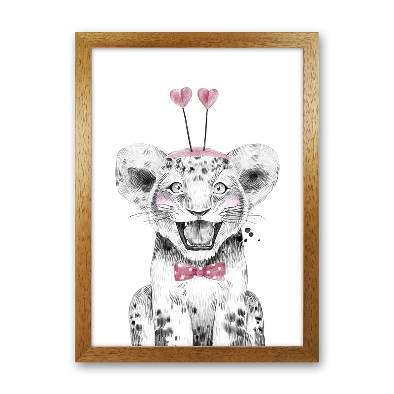 Safari Babies Tiger With Heart Hat  Art Print by Pixy Paper Oak Grain