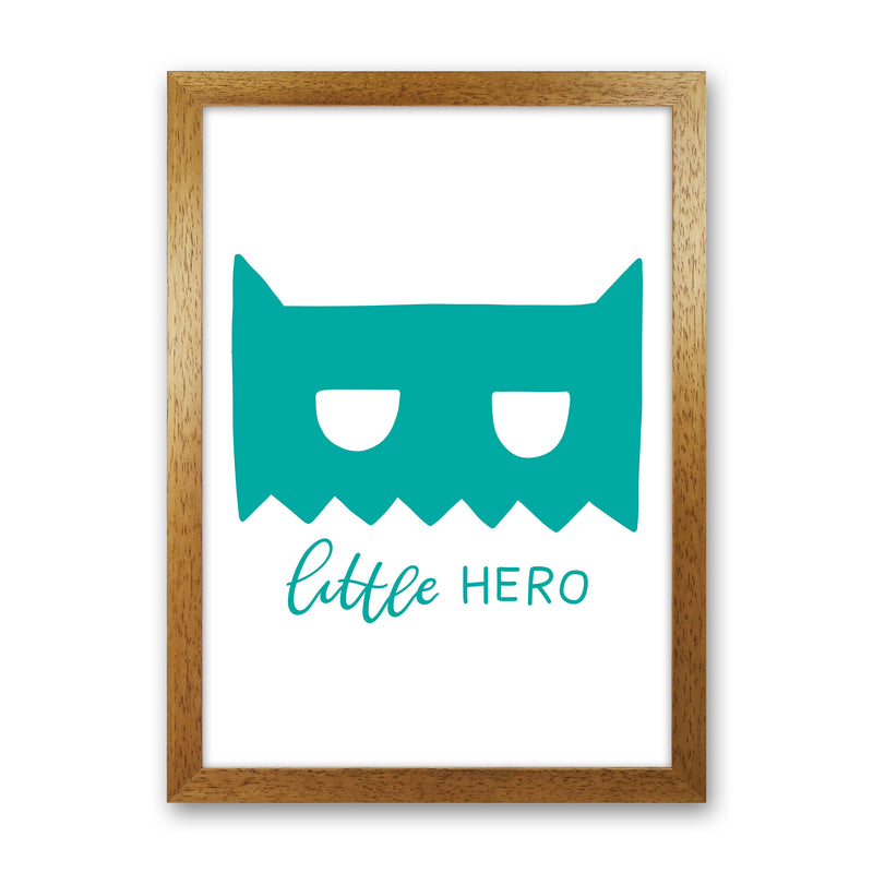 Little Hero Mask Teal Super Scandi  Art Print by Pixy Paper Oak Grain