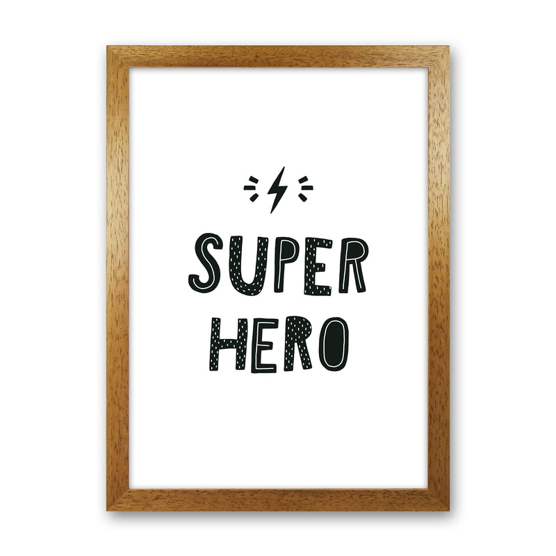 Super Hero Black Super Scandi  Art Print by Pixy Paper Oak Grain