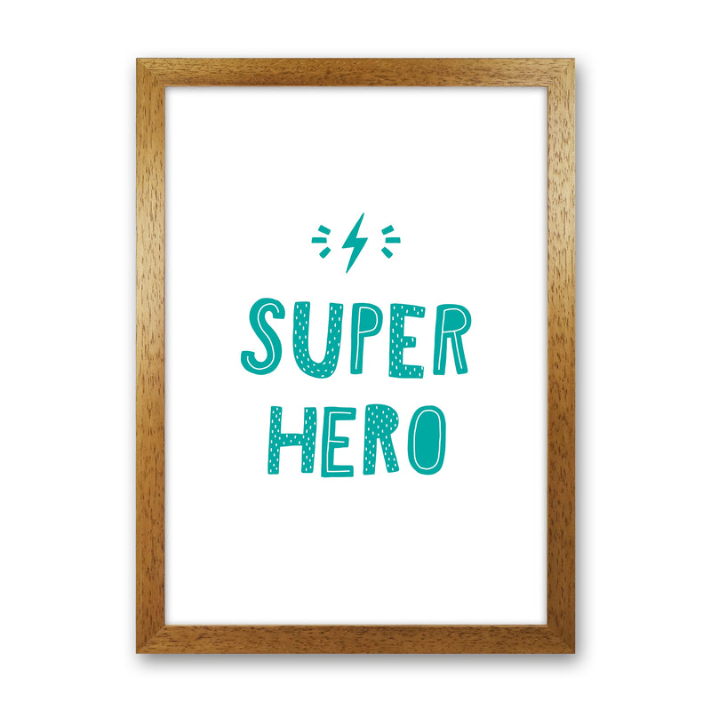 Super Hero Teal Super Scandi  Art Print by Pixy Paper Oak Grain