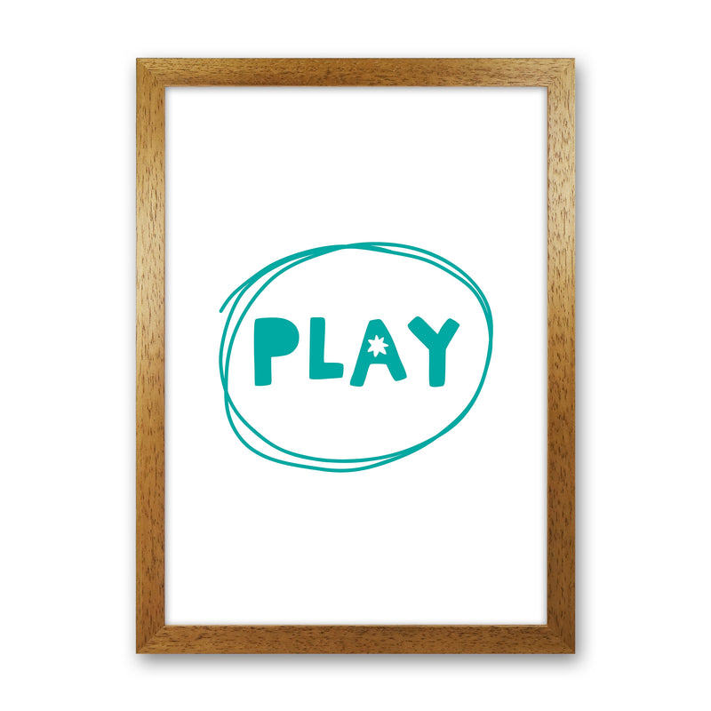 Play Teal Super Scandi  Art Print by Pixy Paper Oak Grain